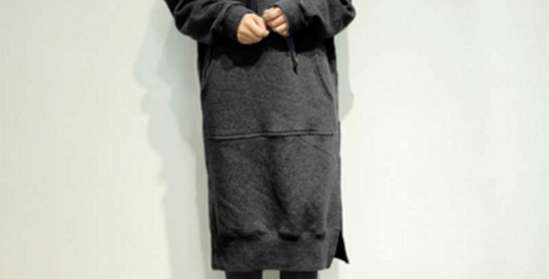 Dark Grey Sweatshirt Dress Hoodies