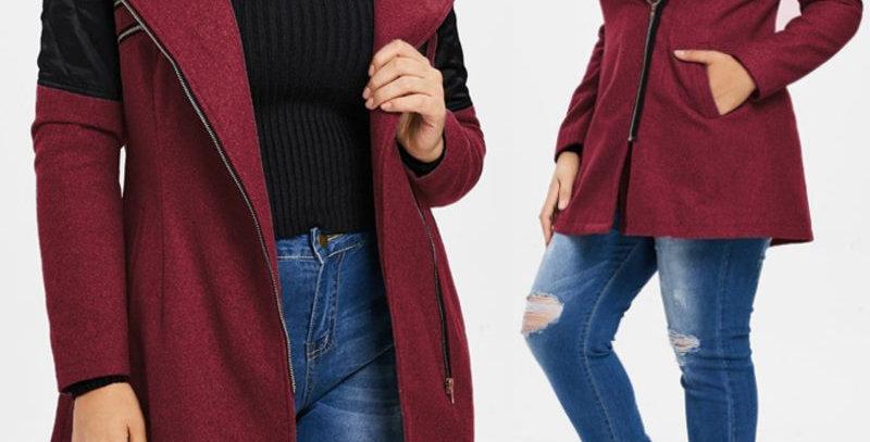 Red Contrast Zip Fly Warm Winter Coat
