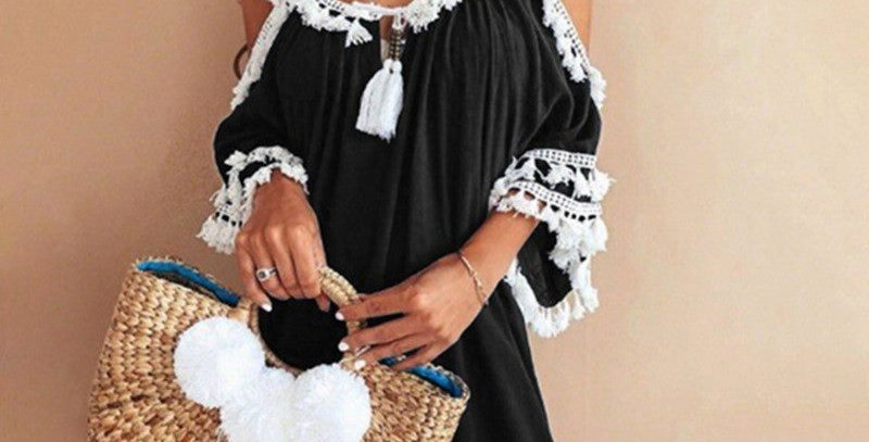 Black Tassel Off Shoulder Boutique Party Dress
