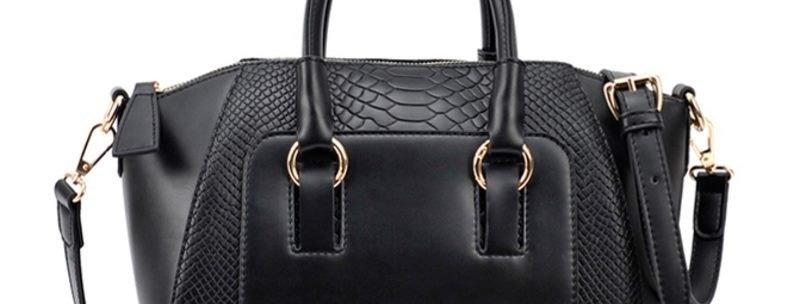 Black Convertible PU Leather Women's Tote Bag