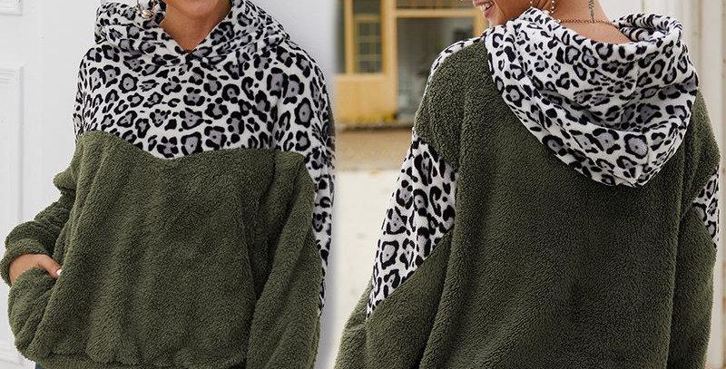 Army Green Leopard  Print Hoodie