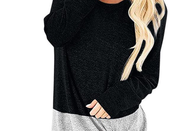Black & Grey 2 in 1 Cotton Ruched Side Loose Fit Top