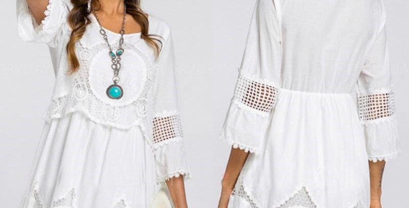 Floral Crochet Bohemia Hollow Out Casual Cotton Dress