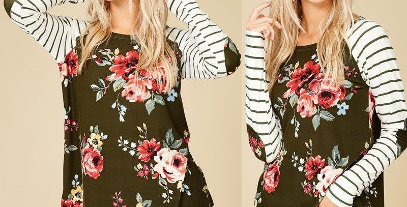 Green Blossom Floral Casual Jersey Top w Stripe Sleeves