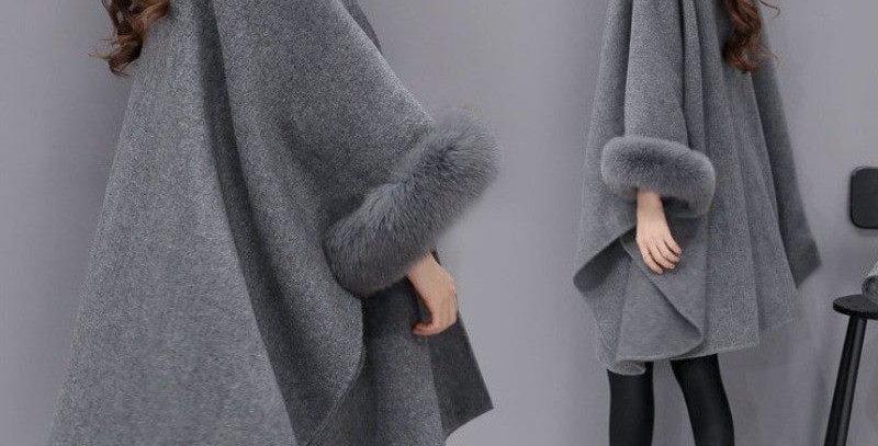 Gorgeous Grey Faux Fur Armhole Shawl