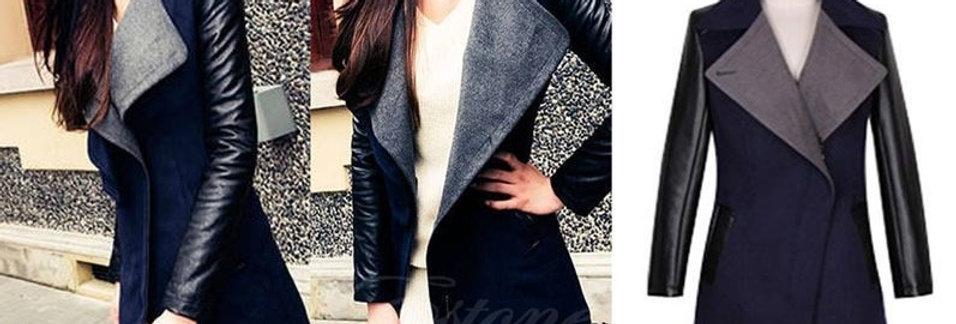 PU Leather Side Zip Winter Jacket