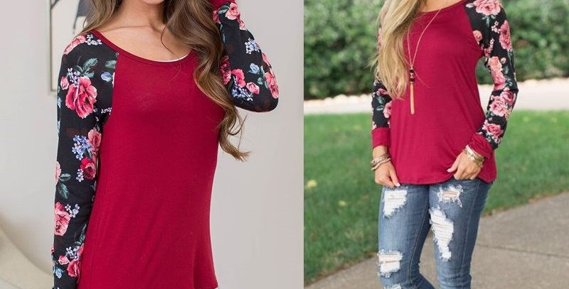 Burgundy Floral Casual Jersey Top