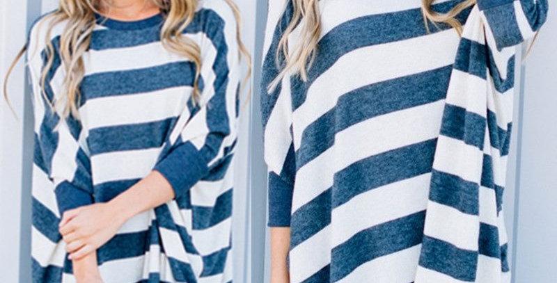White & Blue Stripe Oversized Kimono