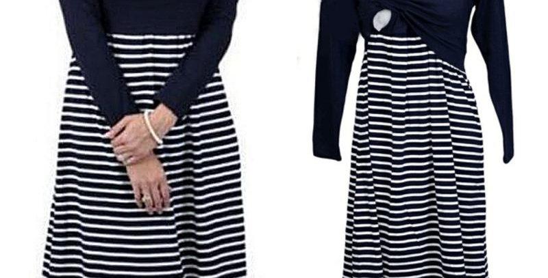 Navy Blue Stripe Maternity Nursing Dress