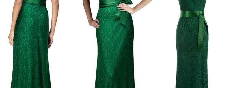 Green Floral Lace Maxi Evening Long Dress