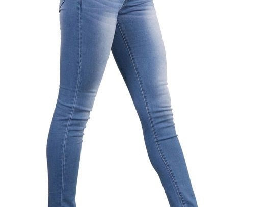 Blue Denim Ruched High Waist Skinny Jeans