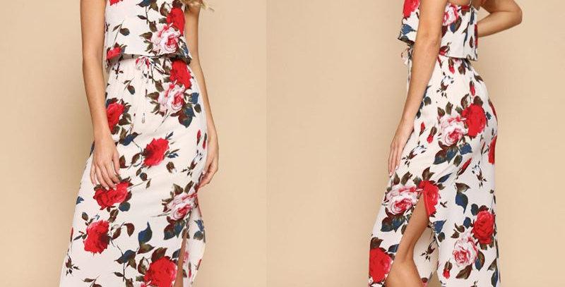 White Blossom Floral Sleeveless Boutique Chiffon Dress
