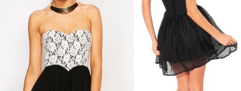 Lace Strapless Chiffon Party Dress