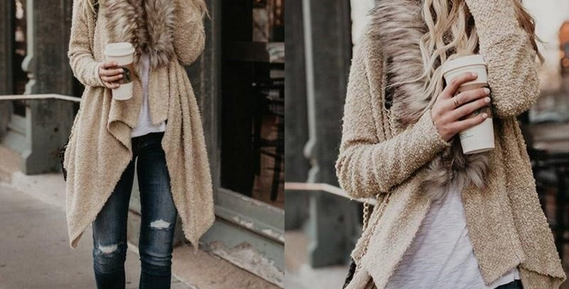 Beige Mohair Faux Fur Knitted Poncho