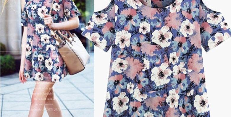 Floral Off Shoulder Linen Casual Party Dress