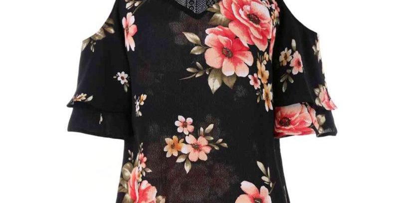 Black Floral Off Shoulder Dress Shirt