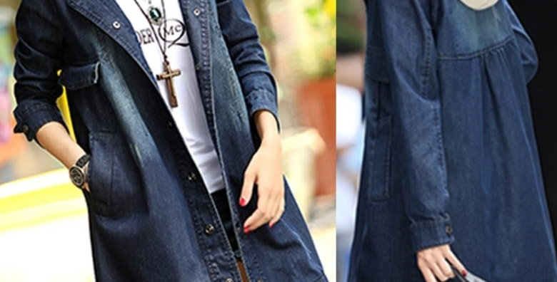 Denim Coat Outerwear Jacket with Detachable Hood