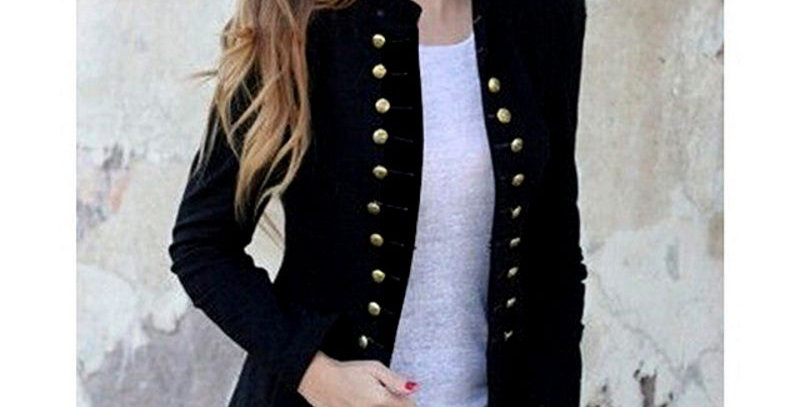 Black Military Long Sleeve Open Suit Blazer