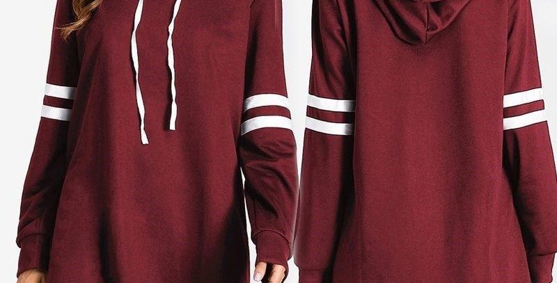 Red Rugby Inspired Stripe Long Hoodie Sweatshirt