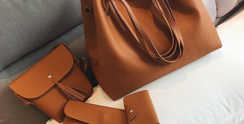 Brown Handbag Tote Bag + Tassel Shoulder Bag + Clutch + Card Case COMBO