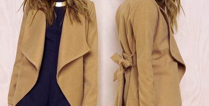 Khaki Turn Down Collar Belted Long Womens Blazer