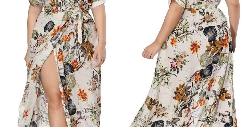 Floral Boho Thigh Split Maxi Long Party Dress + White Tassel Belt