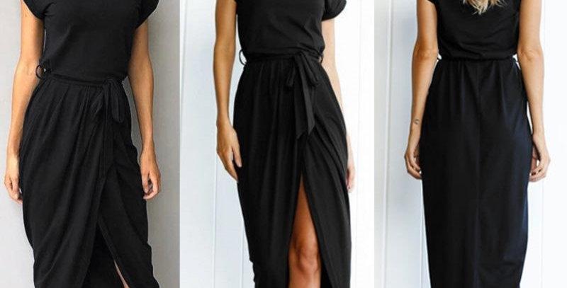 Black Short Sleeve Jersey Cotton Long Dress