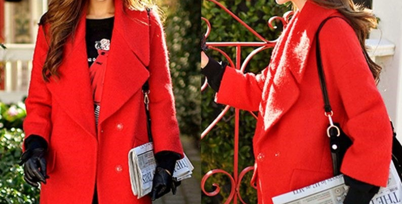 Red Statement Wool Winter Jacket