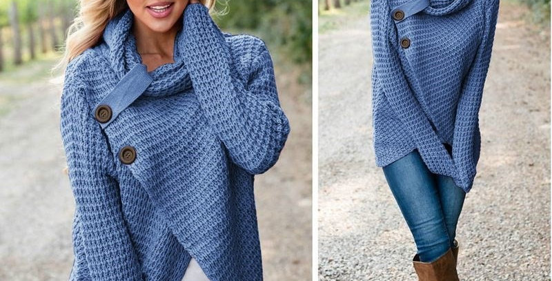Blue Asymmetric Wrap Style Knitted Poncho Sweater