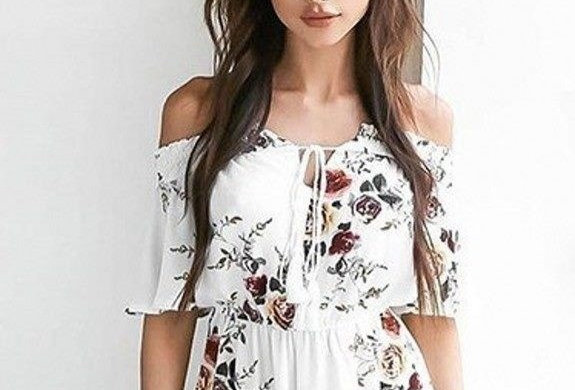 Ivory Blossom Floral Off Shoulder Boutique Jumpsuit