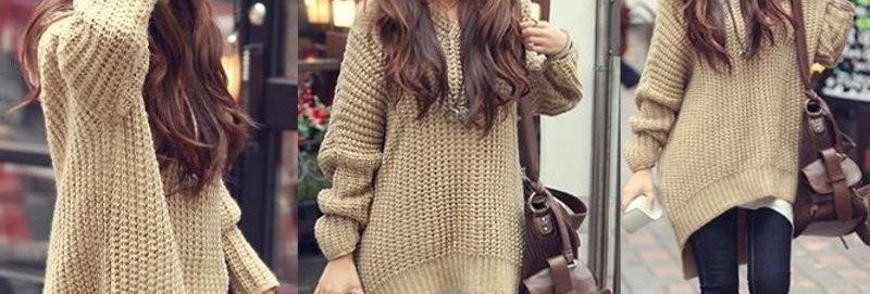 Khaki Casual Slouch Thick Knit Hoodie Sweater