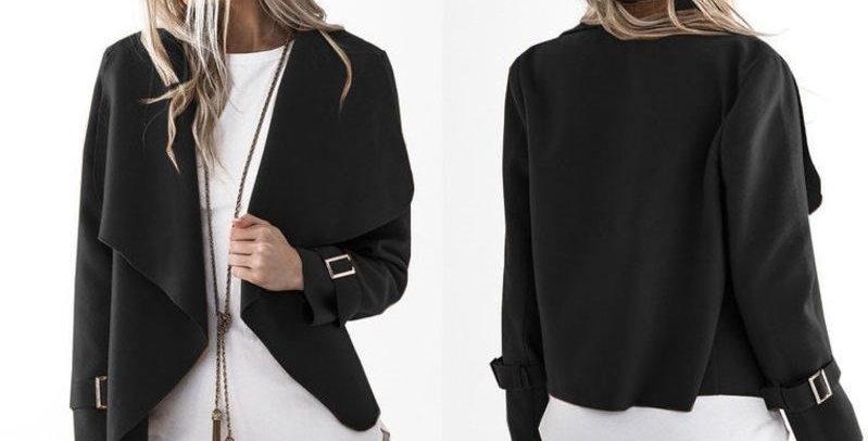 Black Fold Collar Waterfall Duster Coat