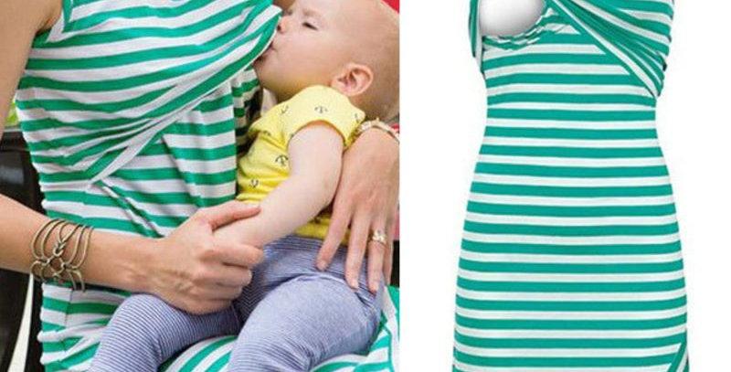 Green & White Stripe Maternity  Dress
