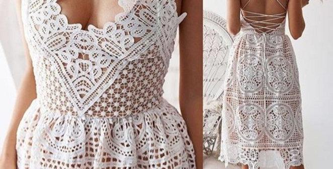 White Boho Crochet Backless Boutique Dress