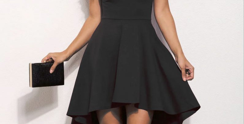 Black Off Shoulder Asymmetrical Party Dress
