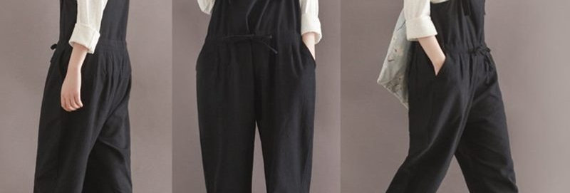 Black Cotton Linen Jumpsuit Pants Overalls