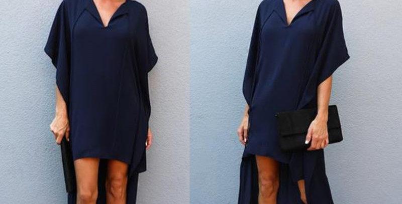 Blue Cape High Low Boutique  Dress