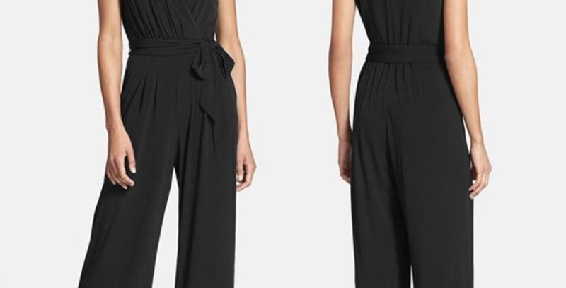 Black Plunge  High Wasted Play suit