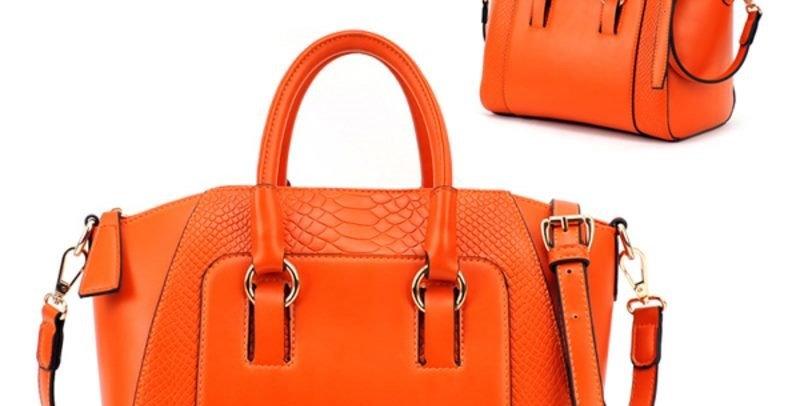 Orange Convertible PU Leather Women's Tote Bag