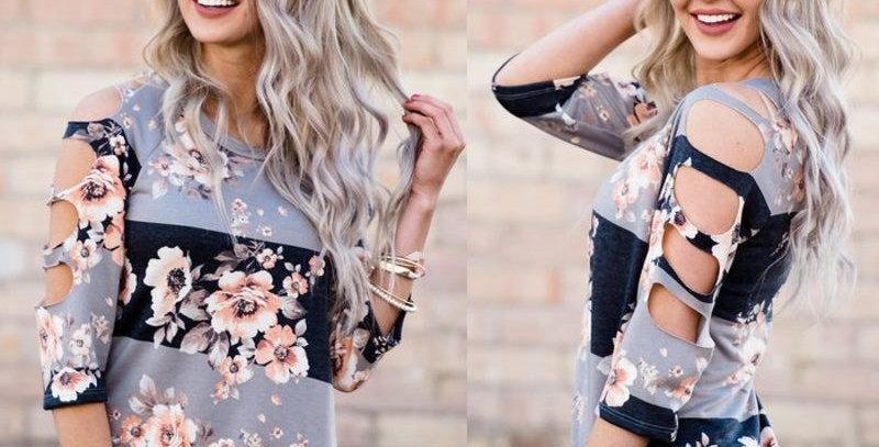 Romantic Blossom Floral Stripe Top