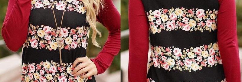 Burgundy Floral Stripe Long Sleeve Jersey