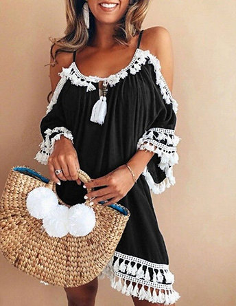 Tassel Off Shoulder Boutique Party Dress
