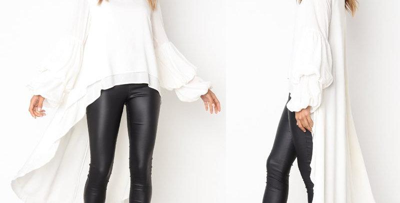 Smart White Layered Asymmetrical Swallow Dress Top