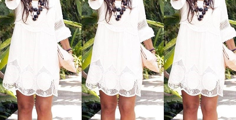 Casual White Cotton Summer Dress
