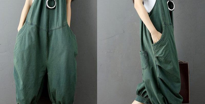 Sexy Green Boho Denim Jumpsuit
