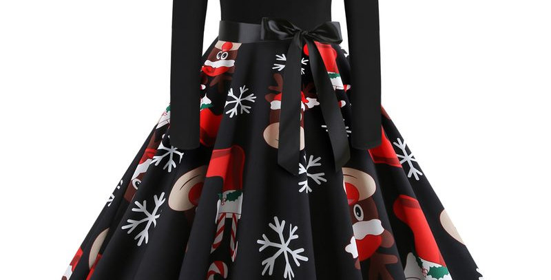 Black Festival Christmas Theme Flared Party Midi Dress