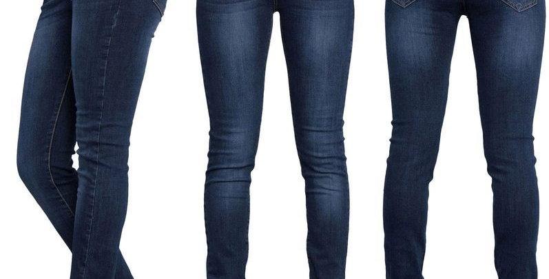 Blue Denim Ruched High Waist Skinny Stretch Jeans