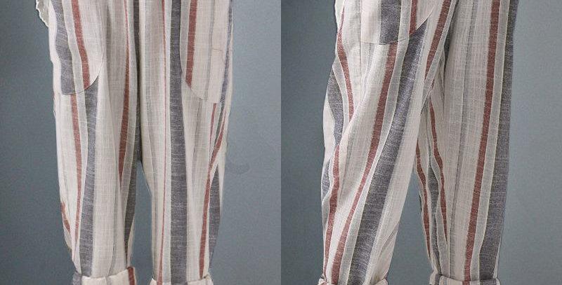 Beige 3 Tone Stripe Elastic Waist Loose Fit Casuals