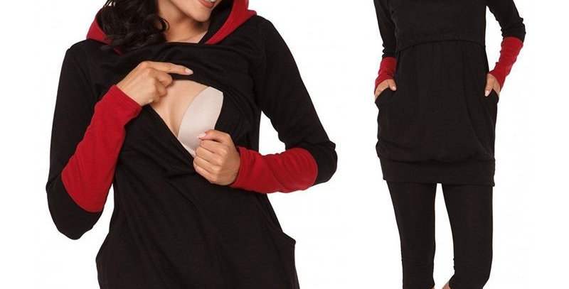 Red with Red Sleeves Maternity Nursing Top