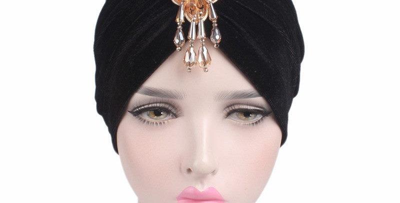 Gorgeous Black Velvet Turban Vintage Retro Headwraps